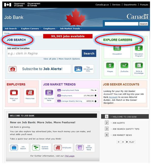 Image Of The Job Bank Homepage