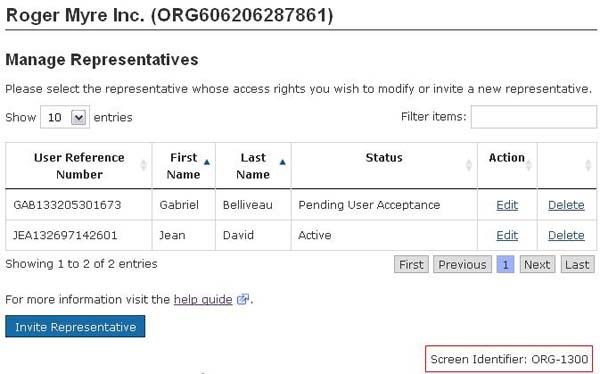 Representation of the links to Edit, Delete and Invite Representative.