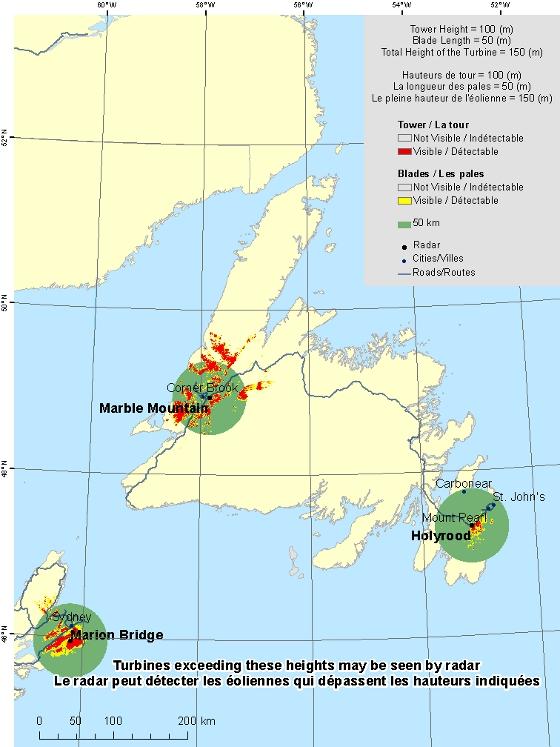 Newfoundland and Labrador radar visibility maps Canadaca