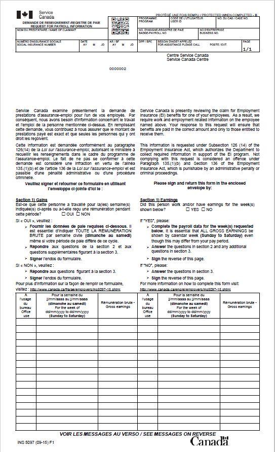 eda8f2001a7c73 Description détaillée du formulaire Demande de renseignements – Registres  de paie Image de recto du formulaire INS5094   ci-après