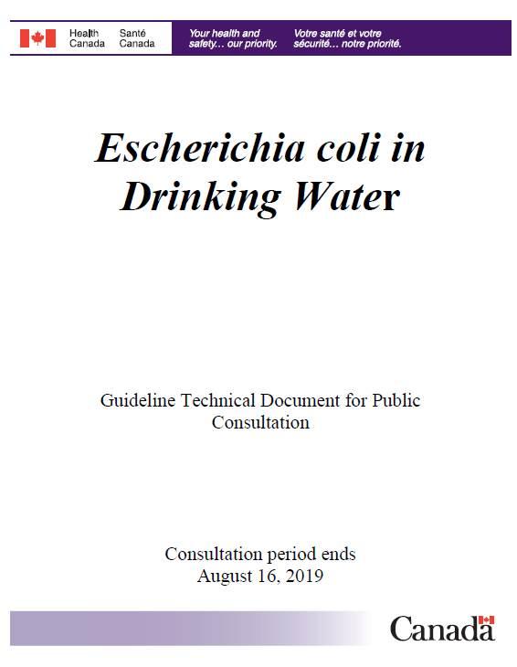 Escherichia coli in Drinking Water - Canada ca