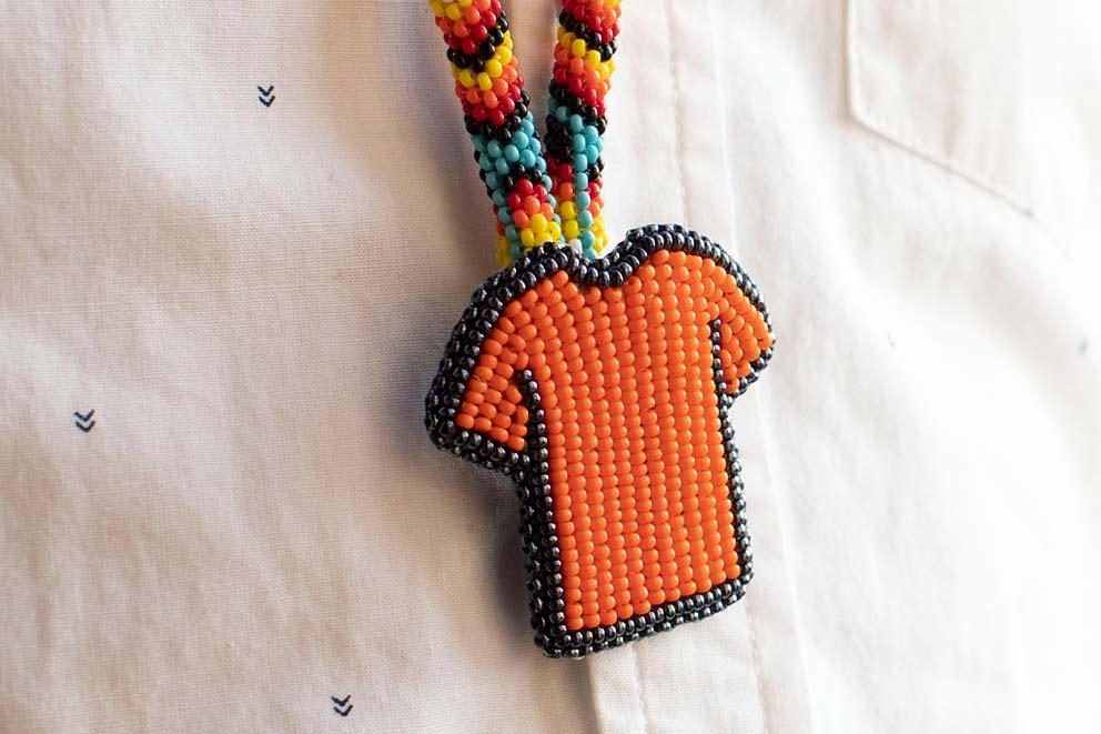 Beaded orange shirt necklace
