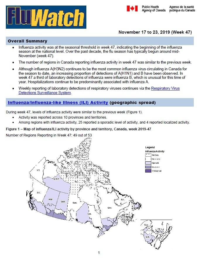 Flu Map Outbreaks Across Canada FluWatch report: November 17 to 23, 2019 (week 47)   Canada.ca