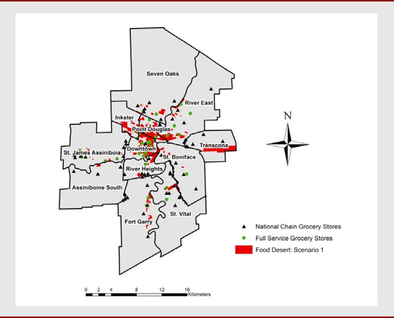 Food deserts in Winnipeg, Canada: a novel method for measuring a