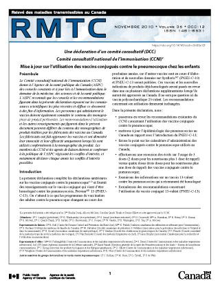 Declaration Du Ccni Vaccins Conjugues Contre Le Pneumocoque Canada Ca