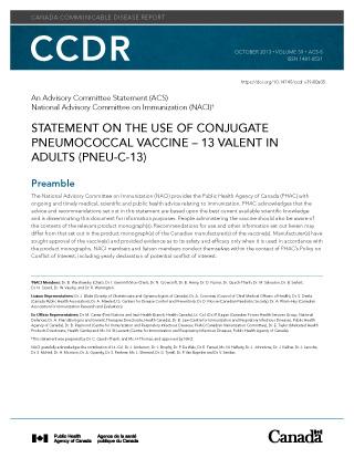 Naci Statement Conjugate Pneumococcal Vaccine 13 Valent In Adults