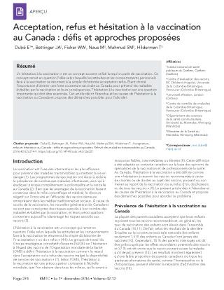 Acceptation Refus Et Hésitation à La Vaccination Au Canada