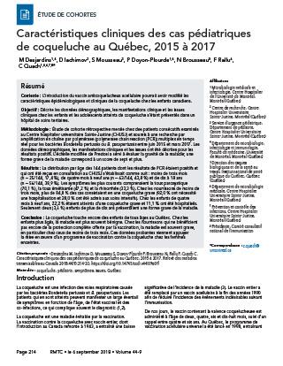 Caractéristiques cliniques des cas pédiatriques de coqueluche chez ...