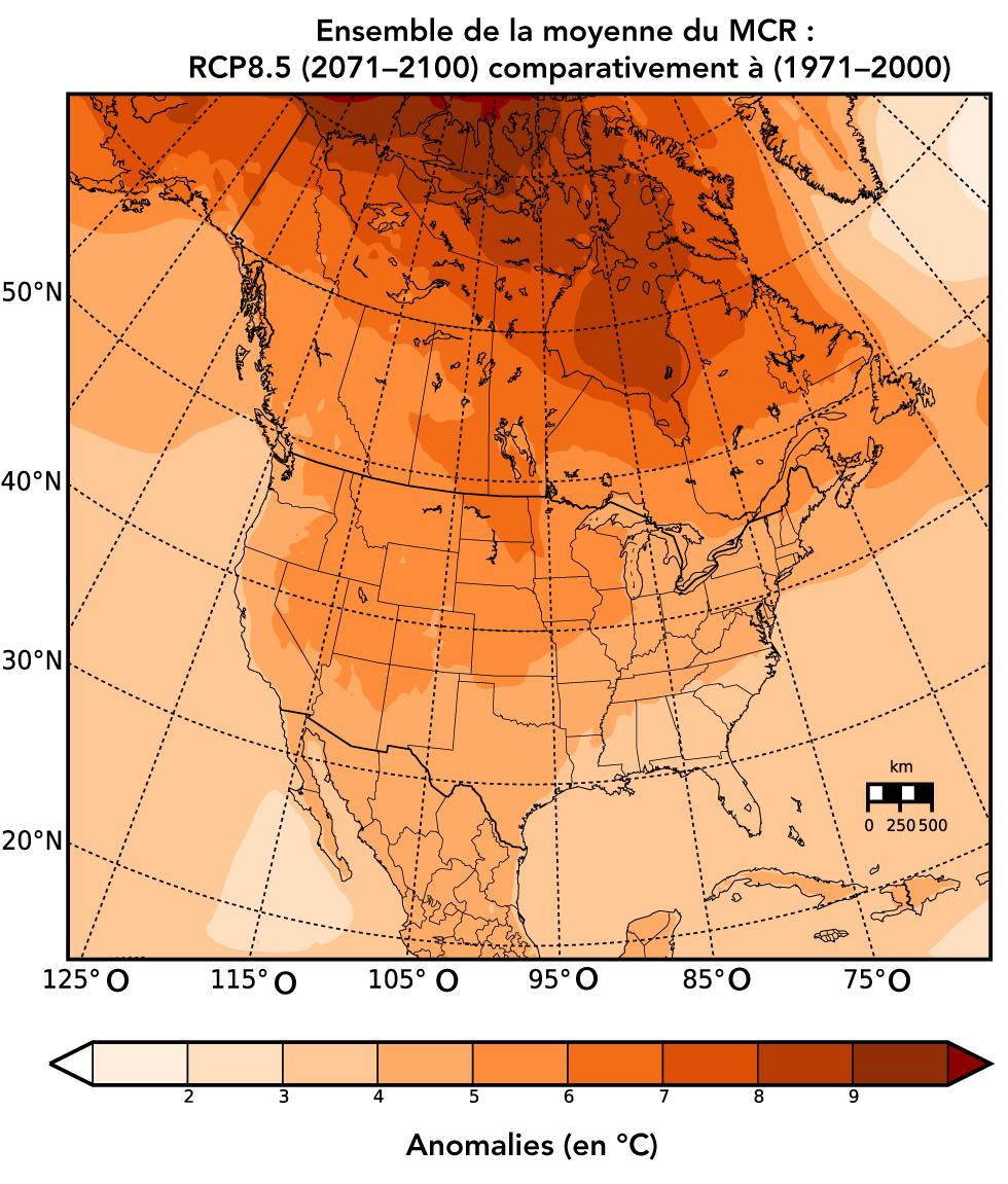 Figure 1a : Changements prévus de la température annuelle moyenne (en °C)