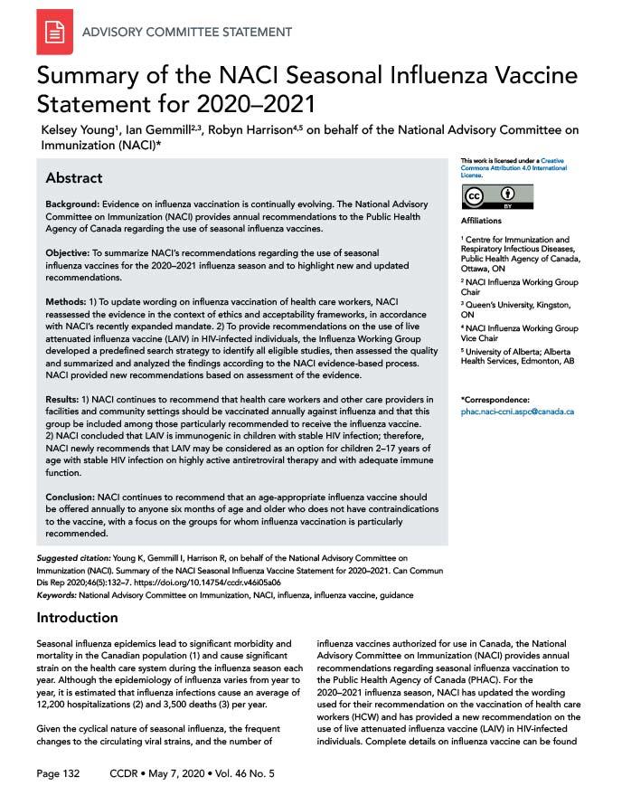 NACI Seasonal Influenza Vaccine Statement for 2020-2021 ...