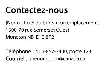 Capture d'écran illustrant le modèle d'adresse dans le site Canada.ca. Plus de détails au sujet de ce graphique se retrouvent dans le texte entourant l'image.
