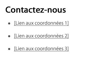 Capture d'écran illustrant le modèle de liens de coordonnées dans le site Canada.ca. Plus de détails au sujet de ce graphique se retrouvent dans le texte entourant l'image.