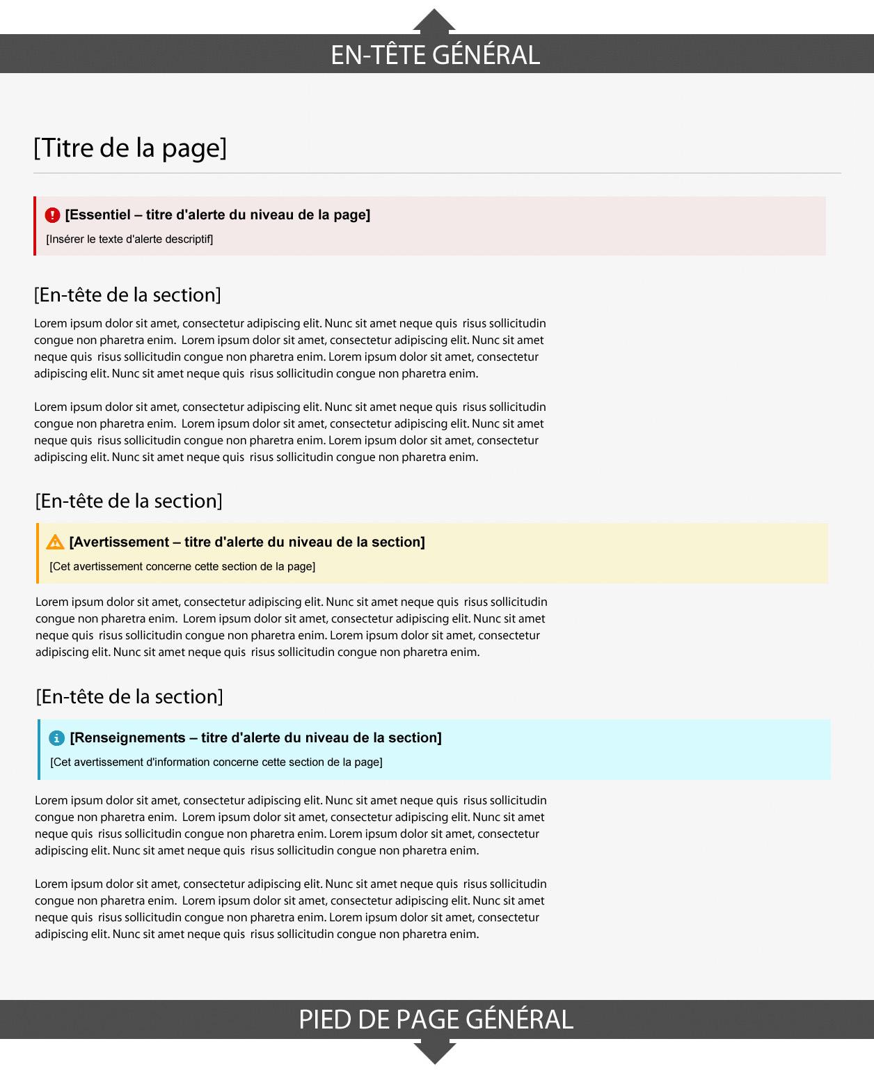Capture d'écran illustrant le modèle des alertes contextuelles dans le site Canada.ca. Plus de détails au sujet de ce graphique se retrouvent dans le texte entourant l'image.