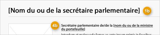 Image de la modification du secrétaire parlementaire indiquant les composants de sa structure. Lire de haut en bas et de gauche à droite. Plus de détails au sujet de ce graphique se retrouvent dans le texte entourant l'image.