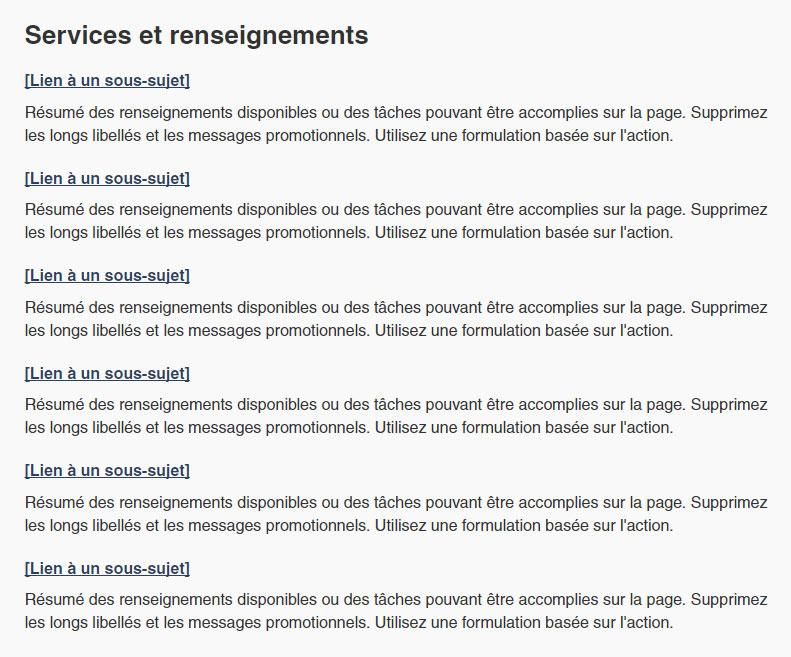 Capture d'écran illustrant un ensemble de liens de menu d'accueil thématique dans une colonne dans le site Canada.ca. Plus de détails au sujet de ce graphique se retrouvent dans le texte entourant l'image.