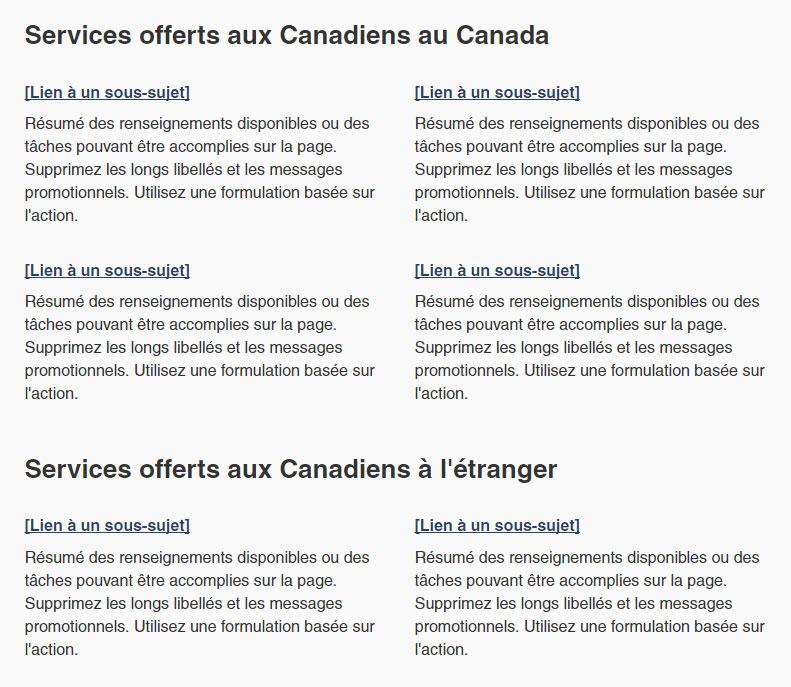Capture d'écran illustrant un ensemble de liens de menu d'accueil thématique dans un modèle de deux colonnes regroupées dans le site Canada.ca. Plus de détails au sujet de ce graphique se retrouvent dans le texte entourant l'image.