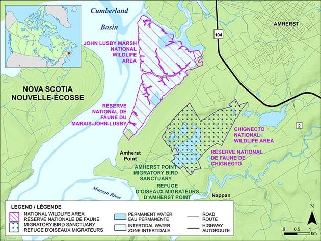 Map John Lusby Marsh and Chignecto NWA boundaries