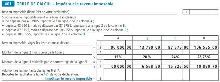 simulation calcul impot revenu quebec