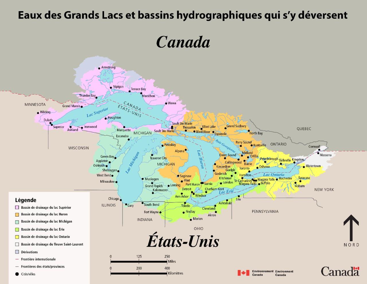 Carte Du Bassin De Drainage Des Grands Lacs Canada Ca